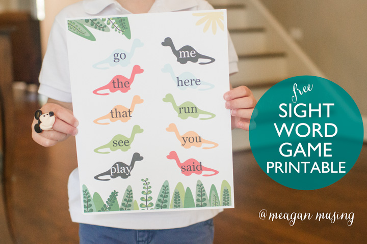 Free Kindergarten Sight Word Dinosaur Game Printable // Meagan Musing